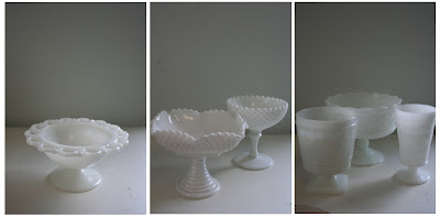 Milk Glass, milkglass, compotes Isha Foss Events