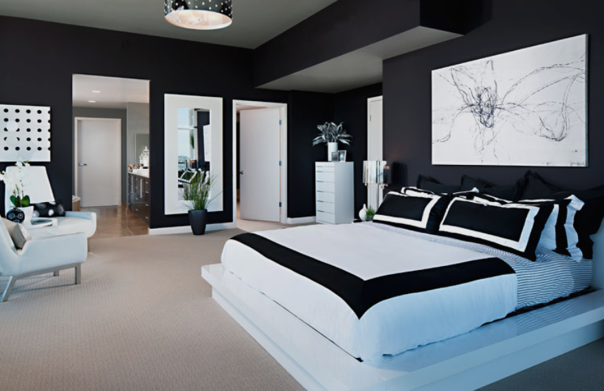 Bedroom decorating black and white ideas get more Bedrooms decorated in black and white