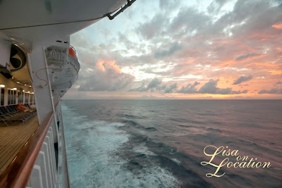 Carnival Conquest cruise ship deck sunset, photo by Lisa On Location Photography