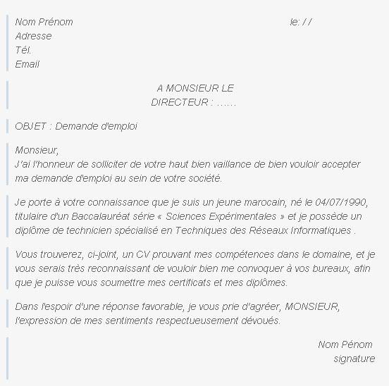 Lettre Demande D Emploi J Ai L Honneur | Employment ...