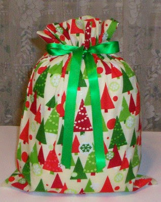 fabric gift bags with Christmas trees