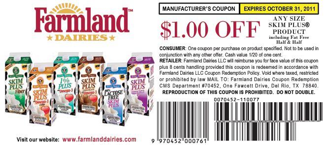 Farmland dairies coupons