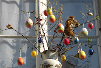 Easter eggs - decorations in Murten on Road Trip through Switzerland