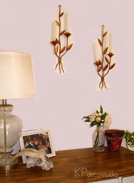 Candelabros vintage dorados. Tienda decoración vintage Valencia.