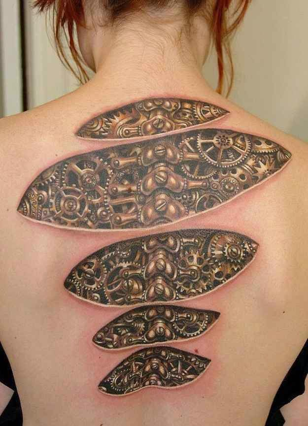 ♥ ♫ ♥ Clockwork lady never has an excuse for being late for work. | Illusion Tattoos That Will Make You Take A Second Look ♥ ♫ ♥