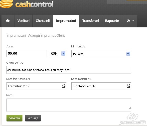 cash control, adaugarea unui imprumut oferit