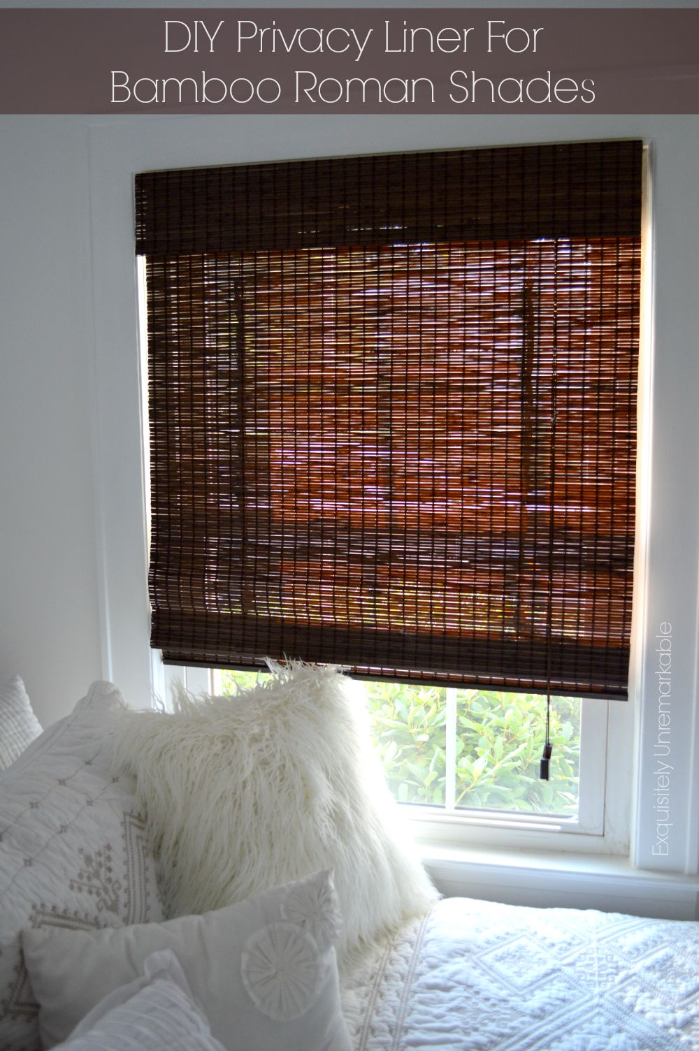 DIY privacy liner for bamboo roman shades