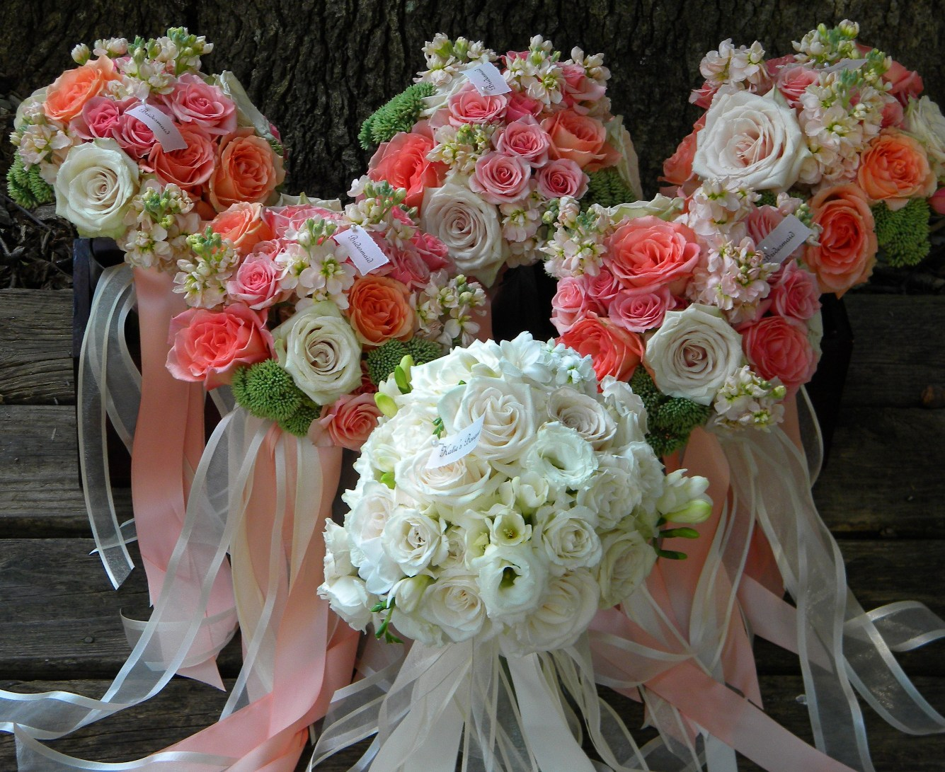 Coral Colored Flower Arrangements Wedding Flowers...