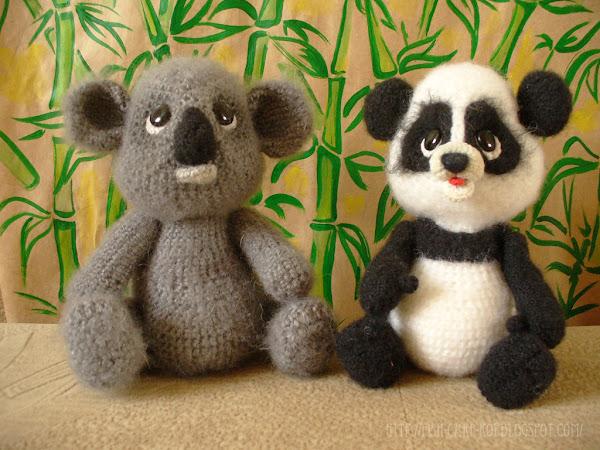 Коала и панда - авторская игрушка связанная крючком