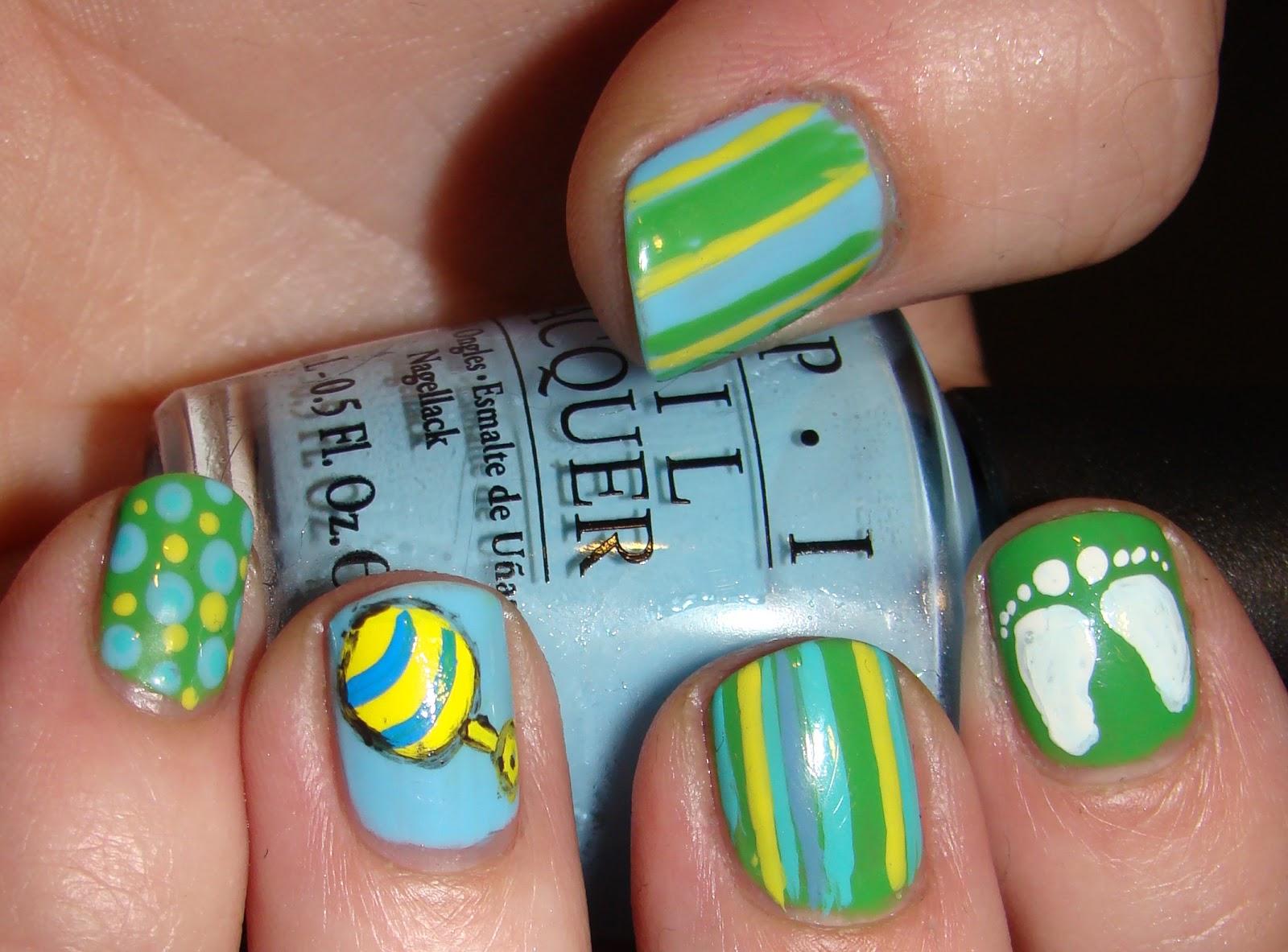 Smashley sparkles baby shower nail art