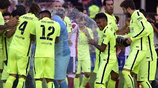 Barcelona celebrate La Liga season 2014/2015