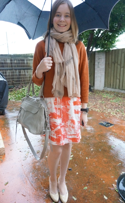 Orange Monochrome Outfit: Pashmina, wool jumper, printed dress nude heels