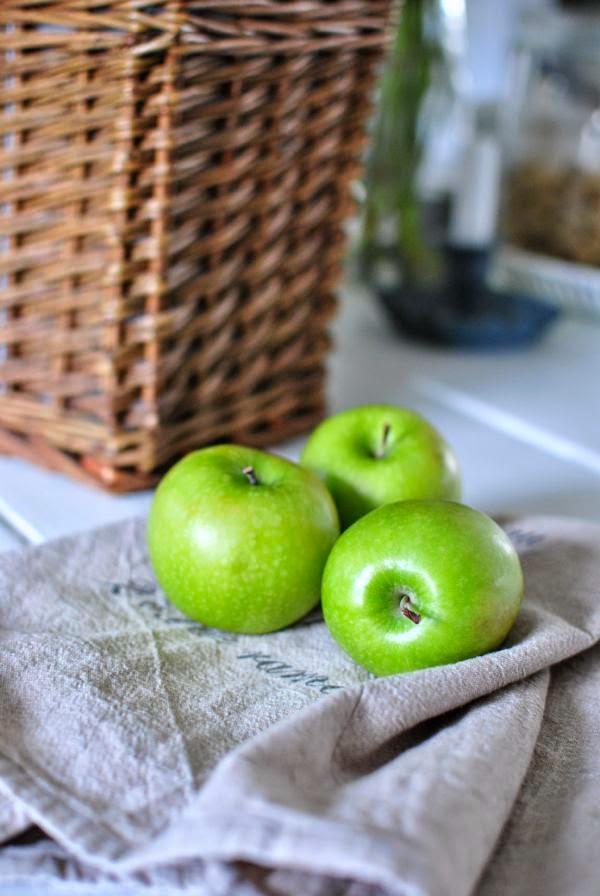 gröna äpplen linnehandduk