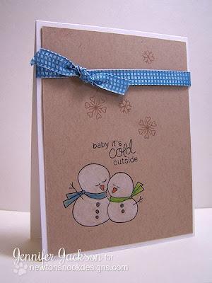Snowman card using Frozen Friends stamps by Newton's Nook Designs
