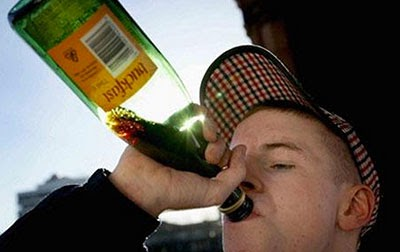 A young hooligan drinks Buckfast - courtesy Daily Telegraph and PA