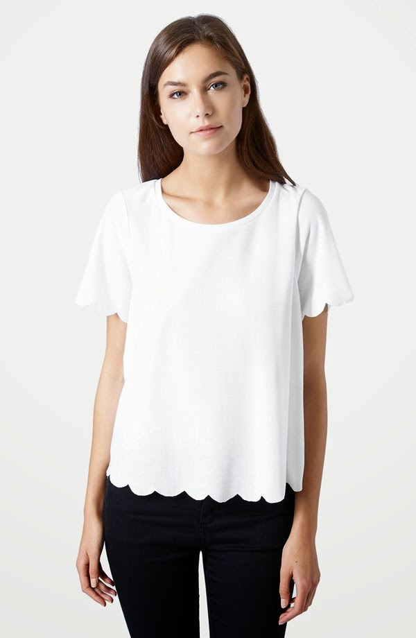 scalloped tee top shop nordstrom only 25 dollars