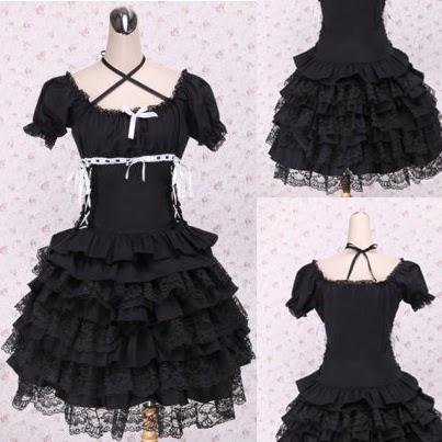 Black Strap Short Sleeves Puff Lolita Dress