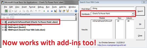 Search Your VBA Code - Work With Add-Ins