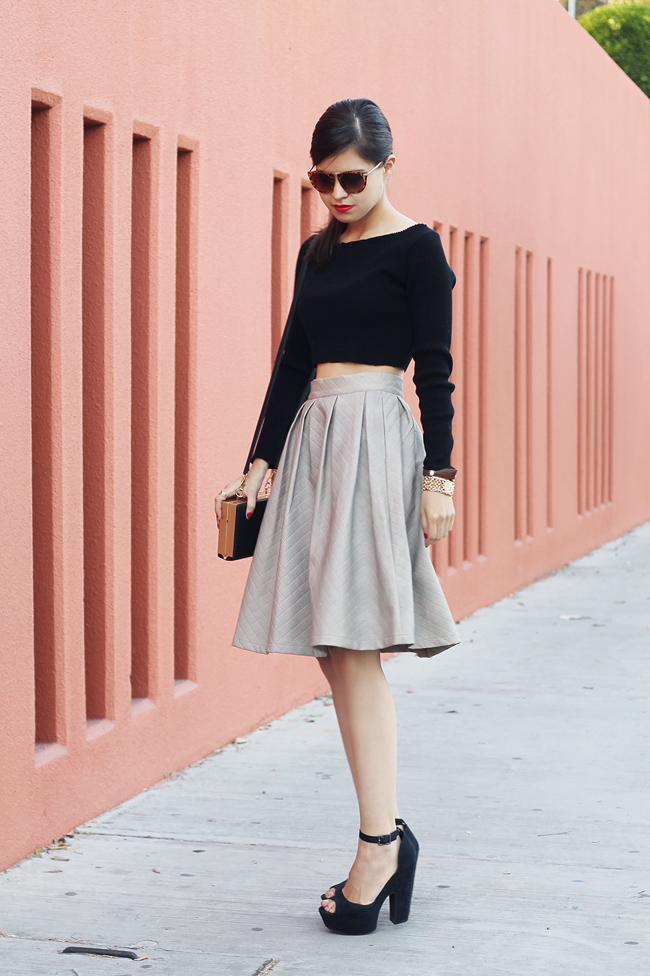 chicwish choies steve madden diy do it yourself skirt leather faux texture retro audrey hepburn cropped top modern book clutch leopard sunglasses