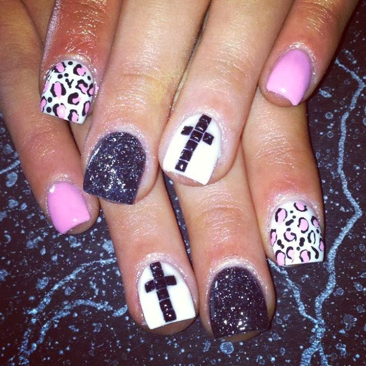 acrylic overlay ombre leopard print and crucifix black stud feats classic pink black and white LED-polish-manicure-OPI-Nail-Polish-Lacquer-Pedicure-care-natural-Gel-Nail-Polish-beauty-tips-Nails-Nail-Art-USA-UK