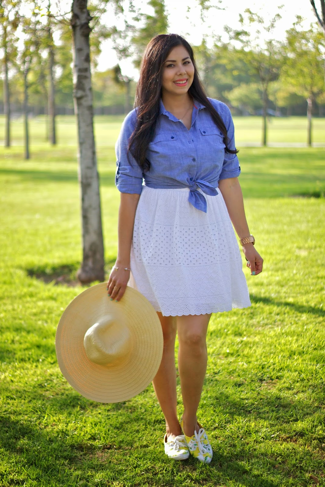 Little White Dress with Chambray, Kate Spade Lemon Shoes, Kate Spade lemon printed keds, San Diego fashion blogger