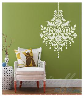 bird chandelier white