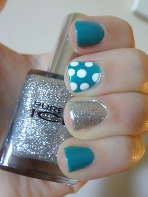 Turquoise nail polish, silver glitter, polka dots, accent nails