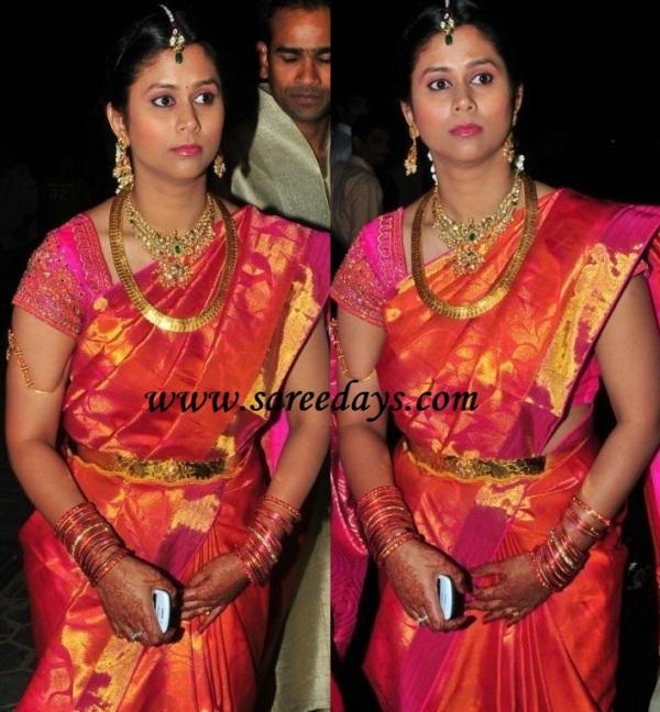 Latest Saree Designs: Allu arjun sister in law in designer bridal silk ...