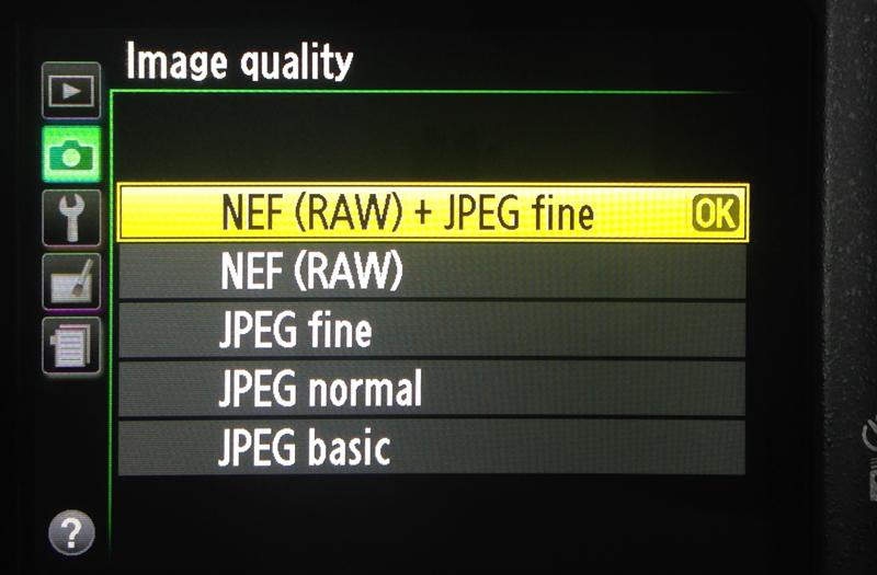 Camera RAW and JPEG setting