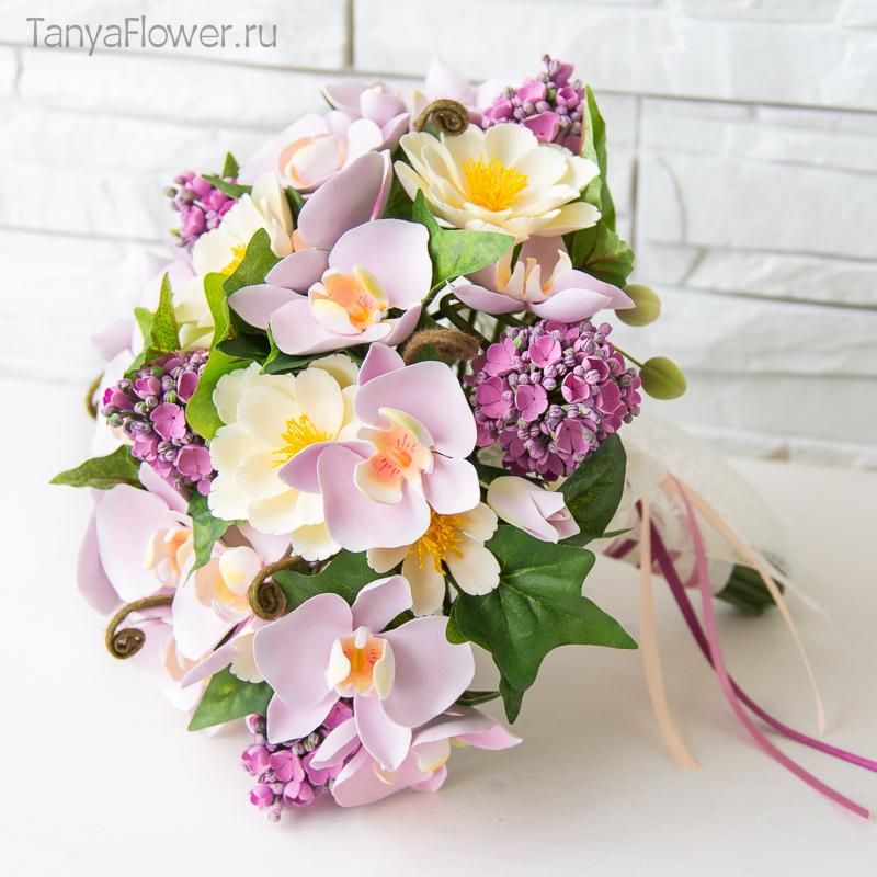 свадебный букет цветов ручной работы из полимерной глины