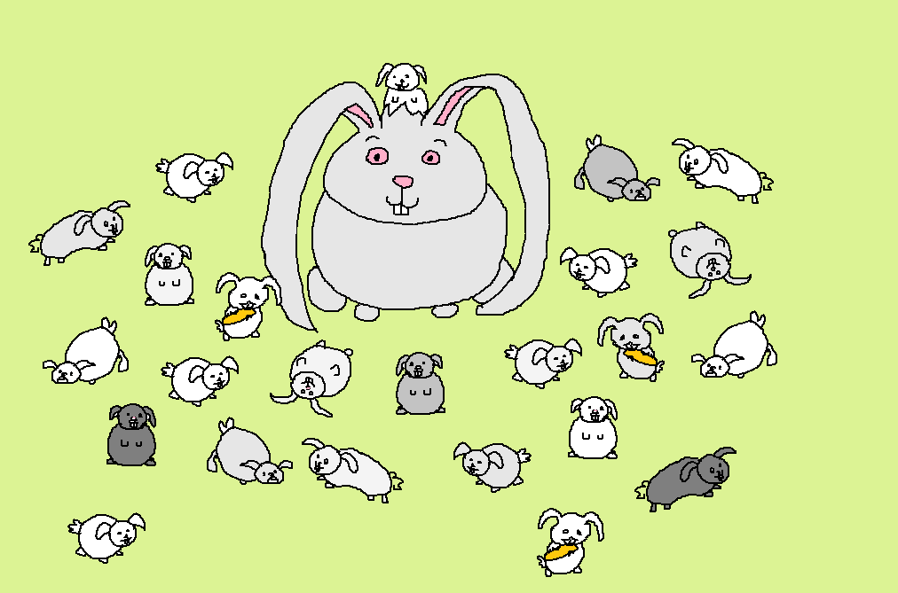 A large rabbit, surrounded by zillions of smaller rabbits.
