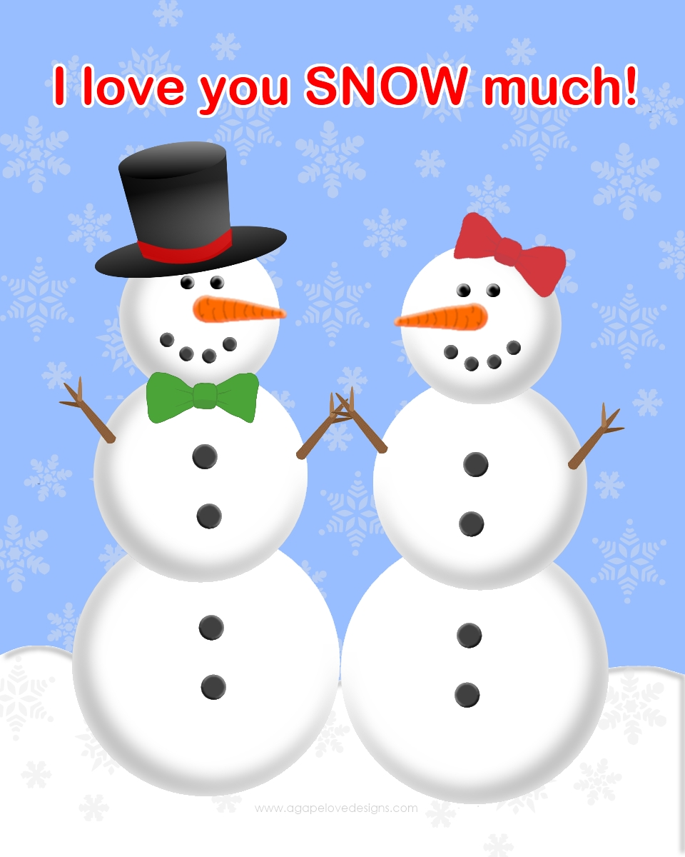 CLIPART SNOWMAN IN LOVE | Royalty free vector design