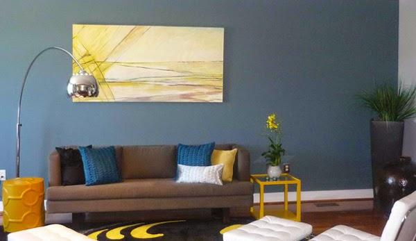 Salas en amarillo y azul salas con estilo for Sala gris con azul
