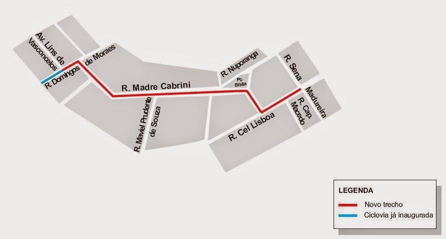 Ciclovia na Rua Madre Cabrini