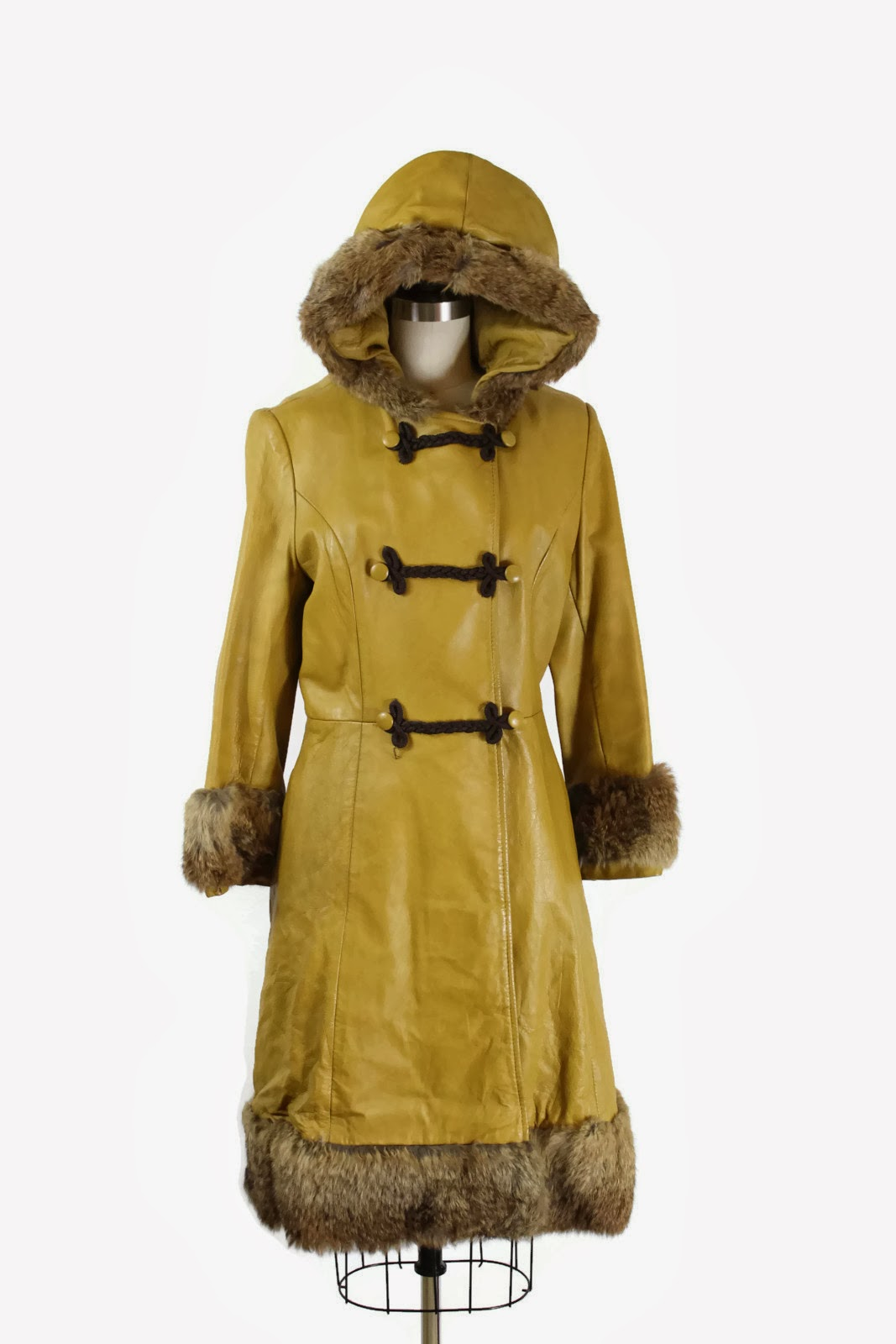 Leather Fur 1970s mustard yellow coat