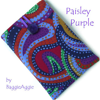 Paisley Purple handmade fabric ereader / tablet case sleeve cover for Kindle, Nexus 7, ipad Mini, Galaxy Tab, Kobo Touch, Blackberry Plabook.