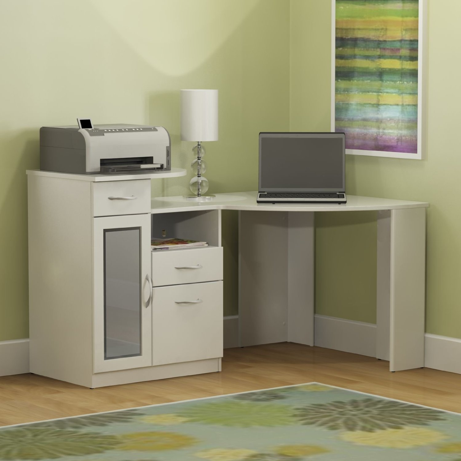 Home Office Computer Desk With File Drawer In White, Black Brown Finishes