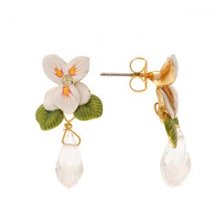 Boucles d'oreilles violeta petite fleur et goutte Les Néréides