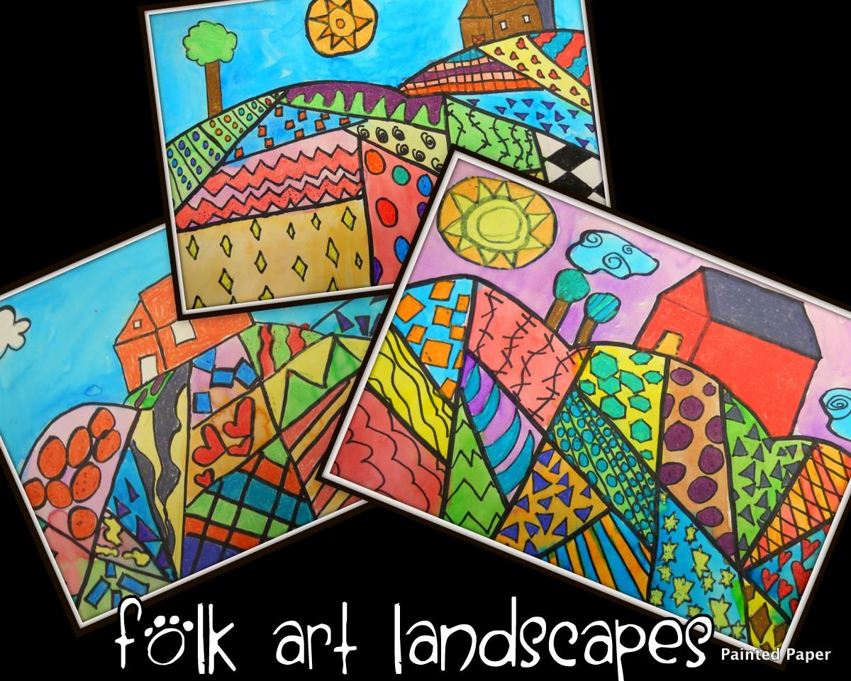 painted paper folk art landscapes. Black Bedroom Furniture Sets. Home Design Ideas