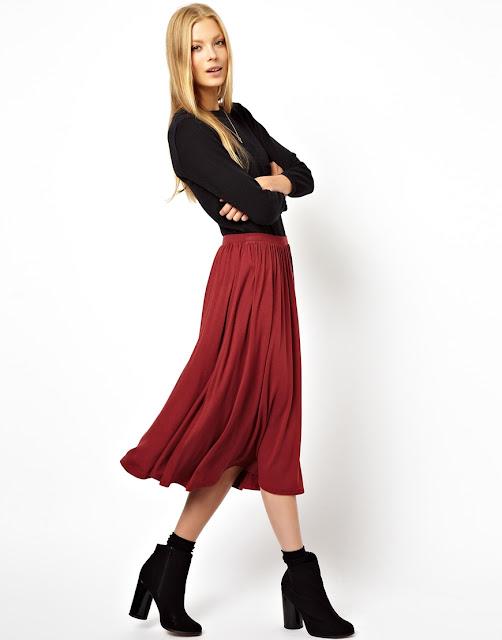 maroon full skirt