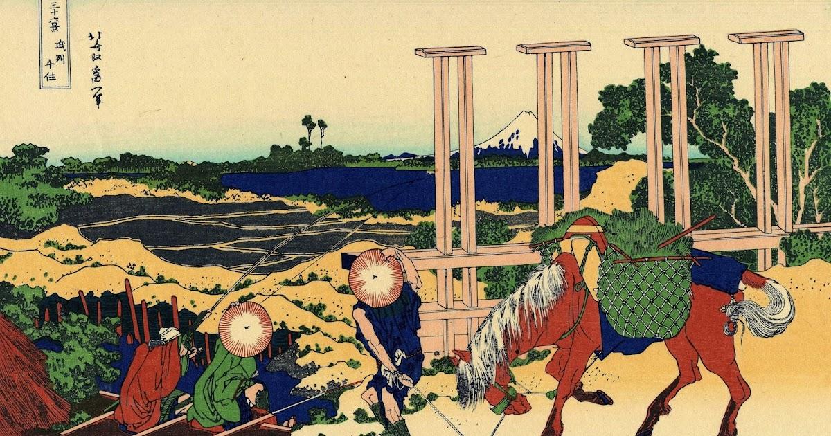 solitary dog sculptor i: engravings - grabados: katsushika hokusai
