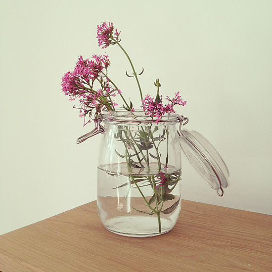 kilner jar of flowers