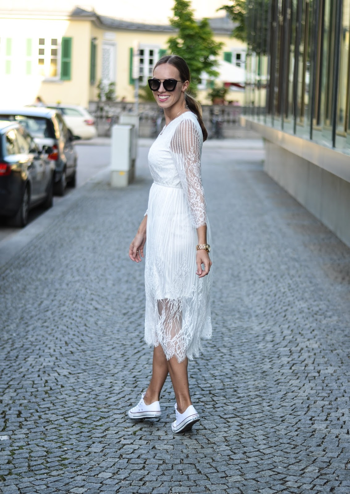 kristjaana mere white lace dress outfit summer street style munich
