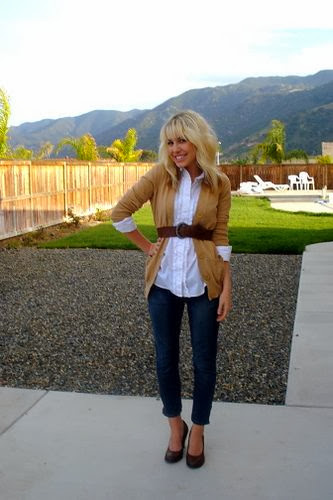 White Shirt With Belted Cardigan Sweater And Blue Jeans