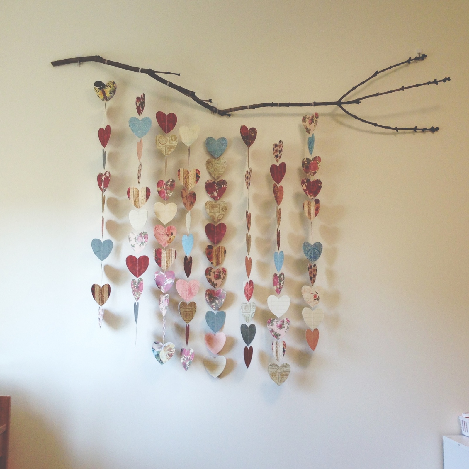 i wanna major in crafts tree branch and paper hearts