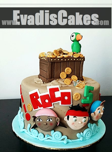 Full view picture of Jade and the Neverland pirate cake