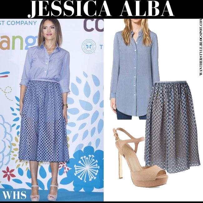 Jessica Alba in blue stripe shirt, blue midi skirt Michael Kors and suede pink beige platform sandals Kurt Geiger Hazel what she wore may 27 elegant chic
