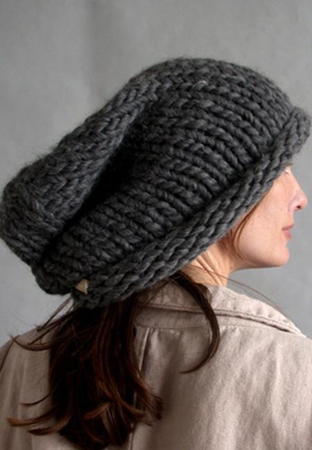 Gorra de lana largo de color plomo oscuro
