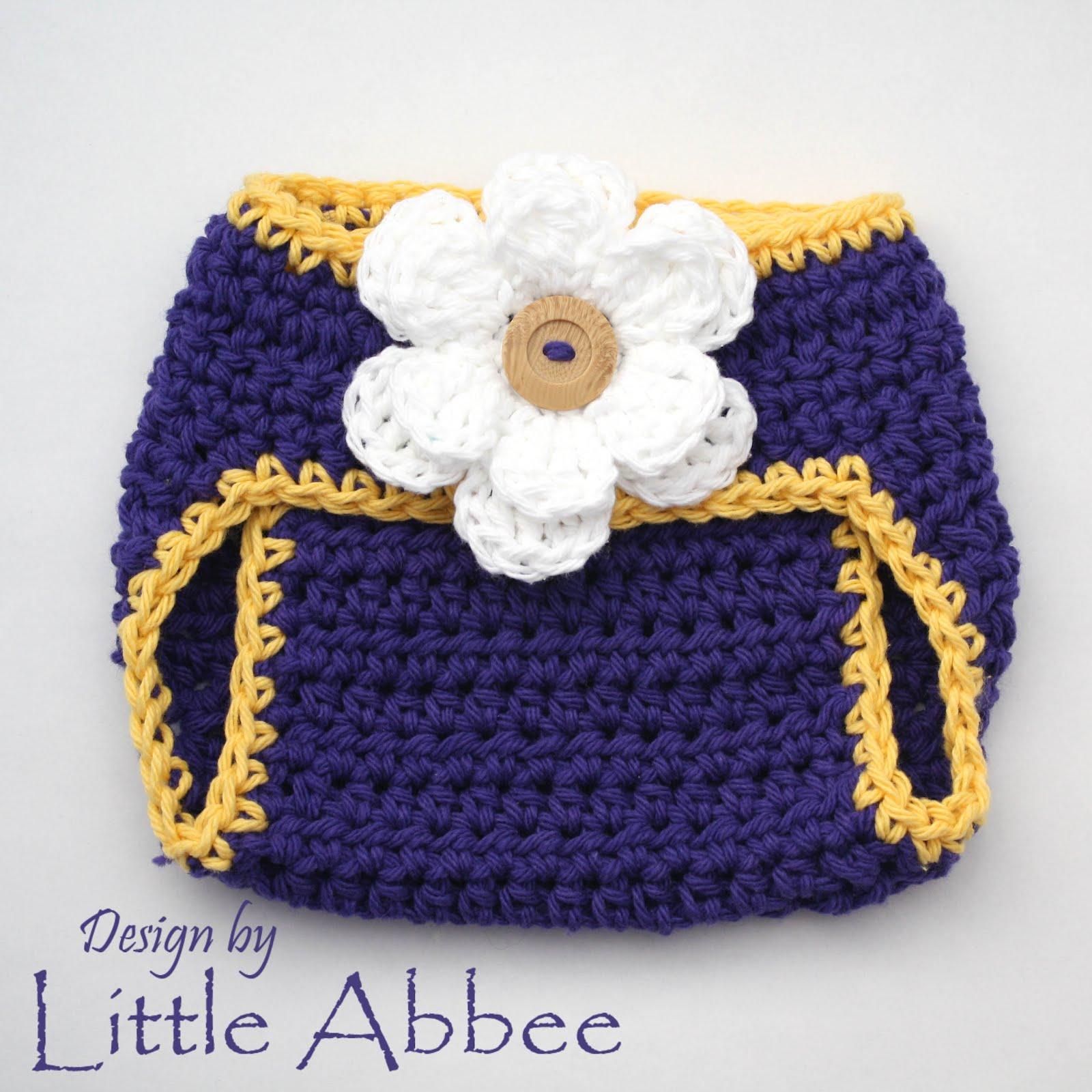 Crochet A Flowers Diaper Cover Pattern : Little Abbee: Diaper Cover Crochet Pattern