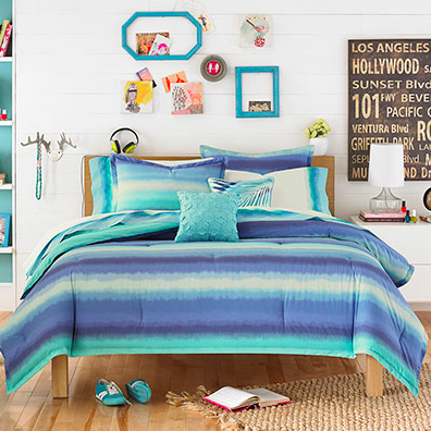 Epic Their Teen Vogue Electric Beach Blue Comforter Set features a trendy ombre stripe pattern in relaxing blues and greens This beautiful bedding is available